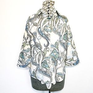 Chico's Paisley Long Sleeve Button Down Shirt